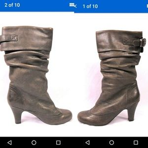 Steve Madden grey taupe slouch boots leather 9.5